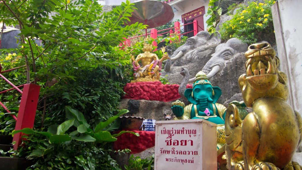 Ganesha and Brahma statues in the Wat Tham Khao Tao, Hua Hin