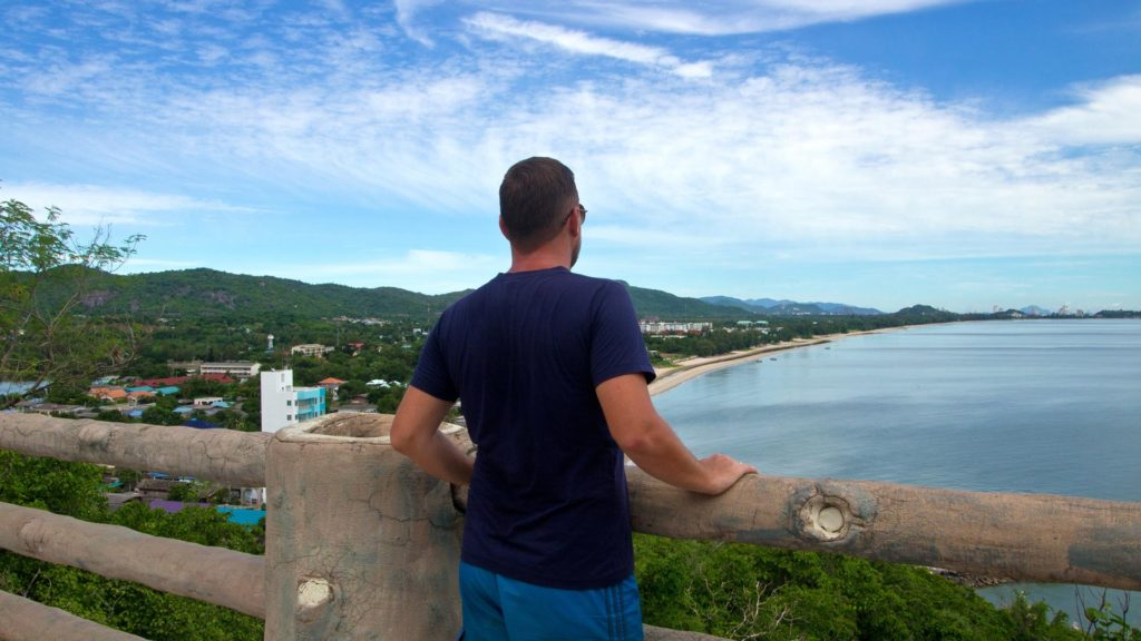 Tobi and the view from the Wat Tham Khao Tao, Hua Hin