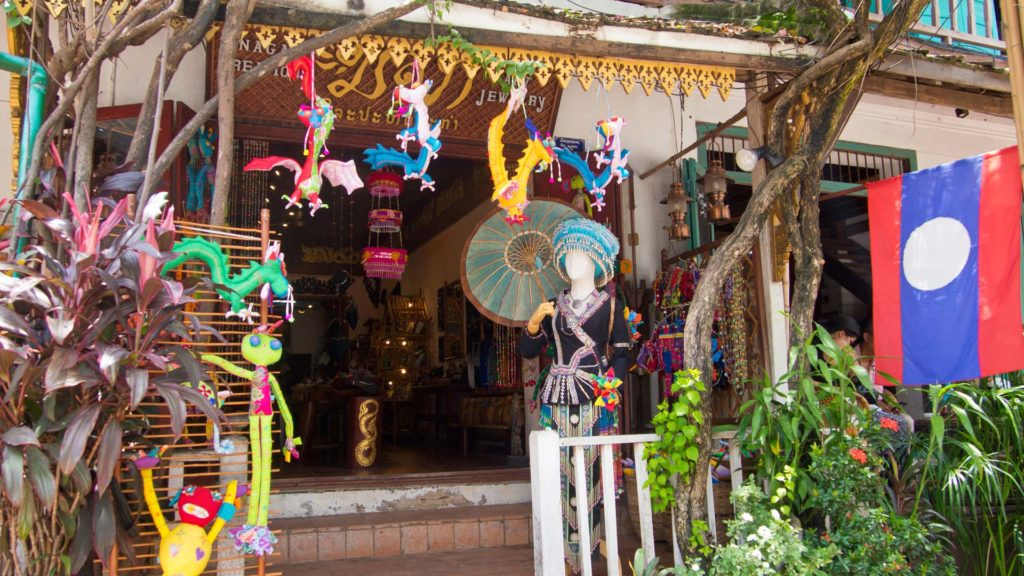 Colorful shops in the old town of Luang Prabang, Laos