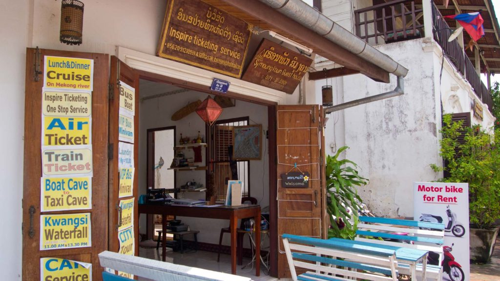 A travel agency in the old town of Luang Prabang