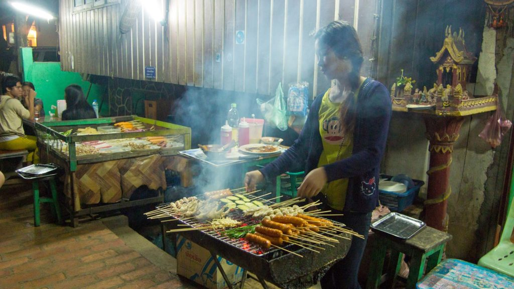 Grilled skewers in the evening, Luang Prabang, Laos