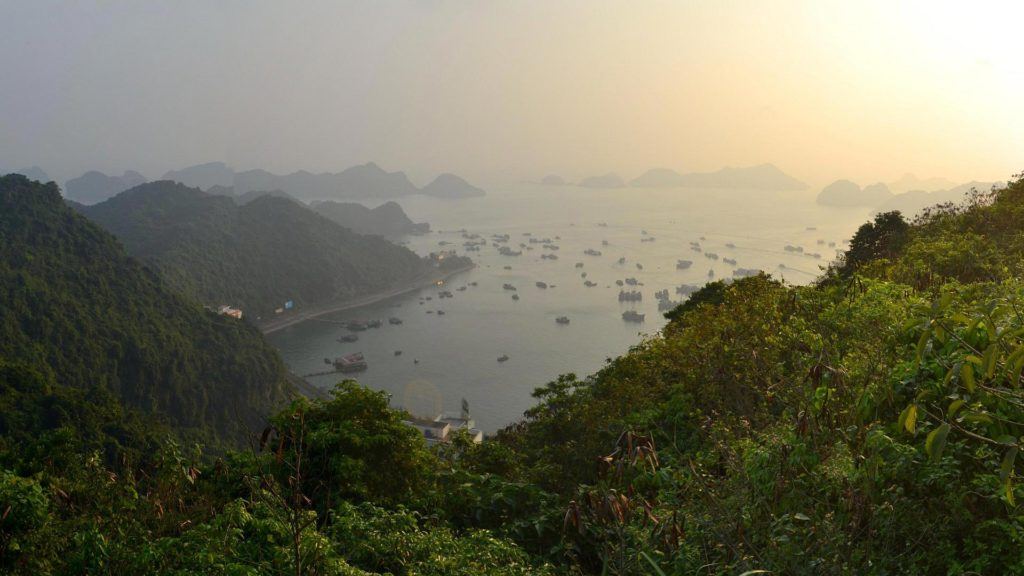 The view at the harbor of Cat Ba, Halong Bay, Vietnam