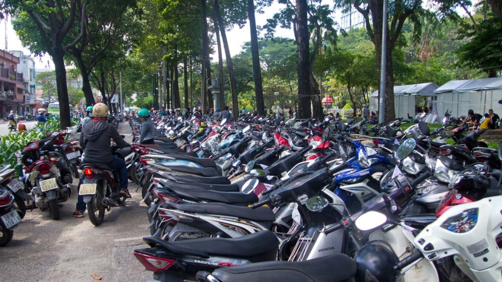 Parking space with countless scooters at the September 23 Park in Ho Chi Minh City