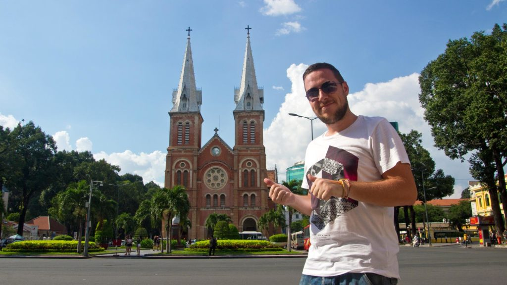 Tobi in front of the Notre Dame cathedral in Ho Chi Minh City