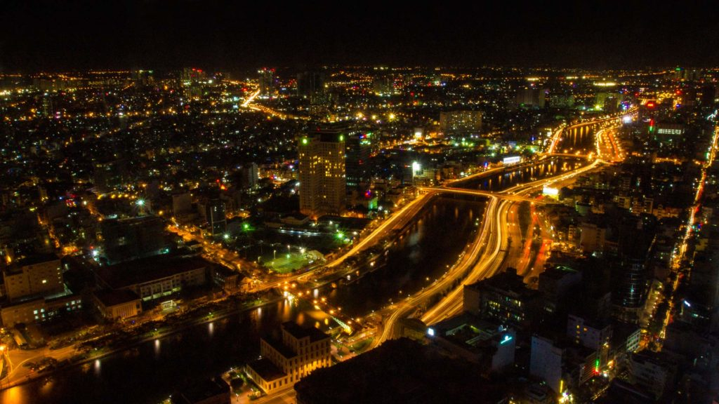 View by night from the Saigon Skydeck, Ho Chi Minh City