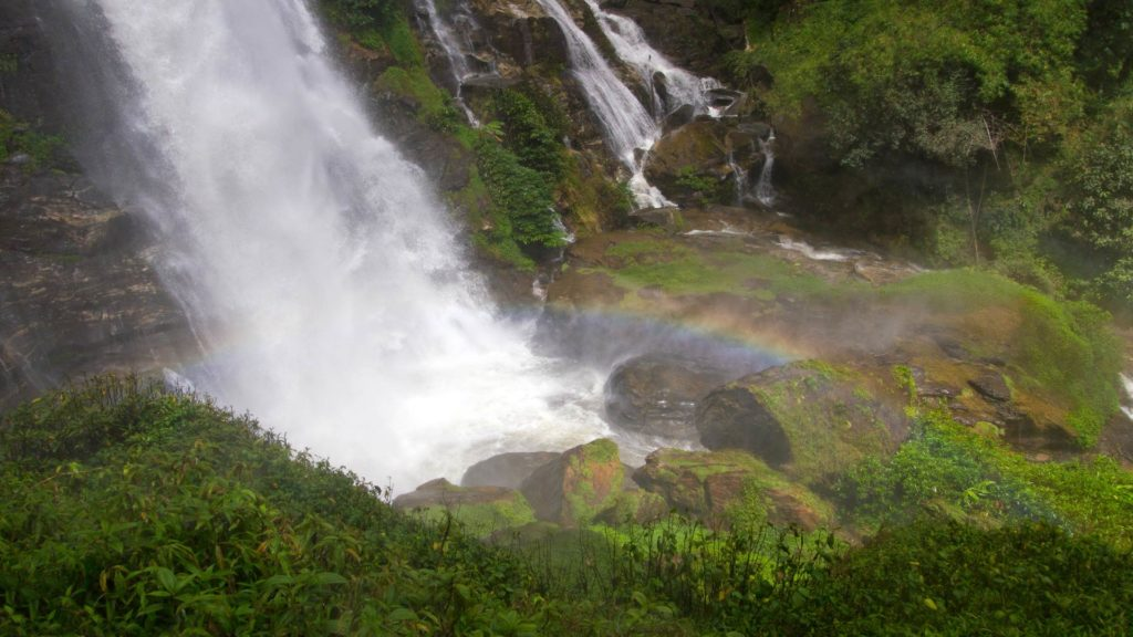 A rainbow in the Wachirathan Waterfall, Doi Inthanon, Thailand
