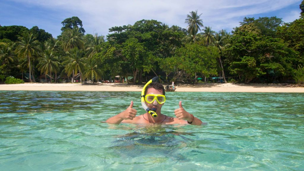 Marcel snorkeling at the Sunset Beach, Koh Kradan