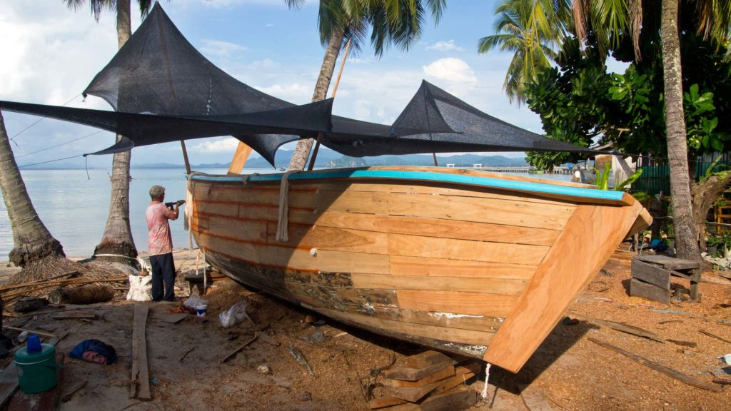 Construction of a new longtail boat on Koh Mook