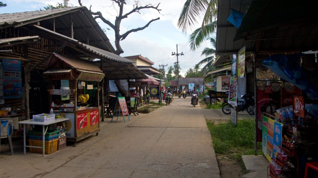 The village of Koh Mook with many shops and restaurants