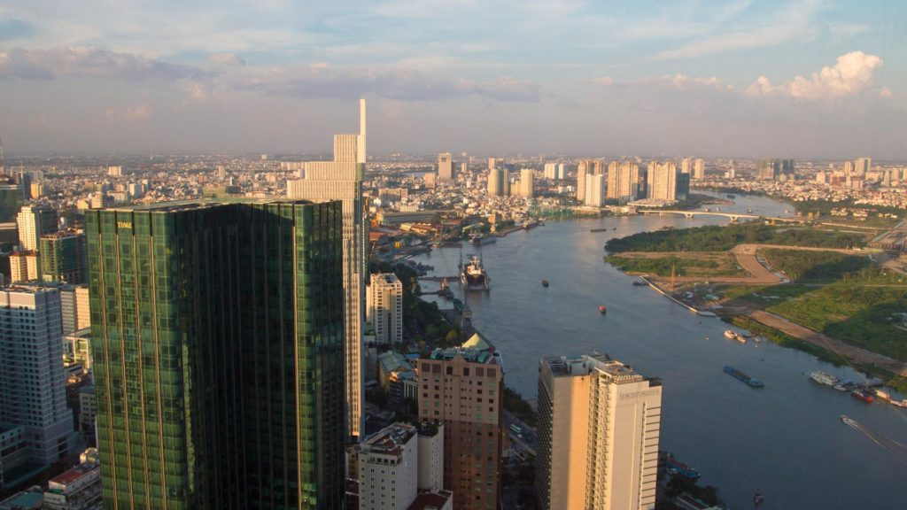 View at the river of Ho Chi Minh City, Saigon Skydeck, Vietnam