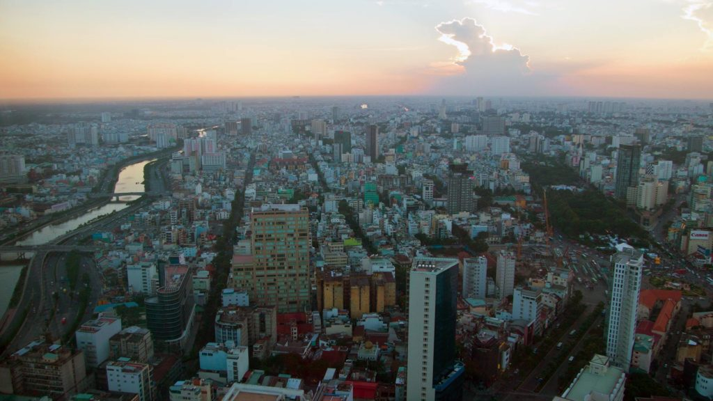 View from the Saigon Skydeck at sunset, Ho Chi Minh City