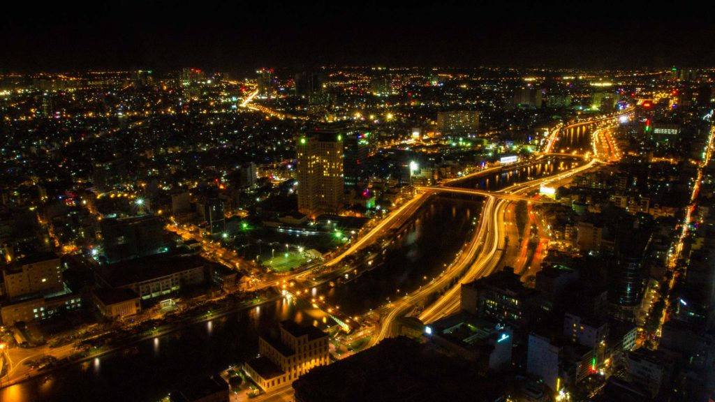 Ho Chi Minh City by night, Saigon Skydeck, Vietnam