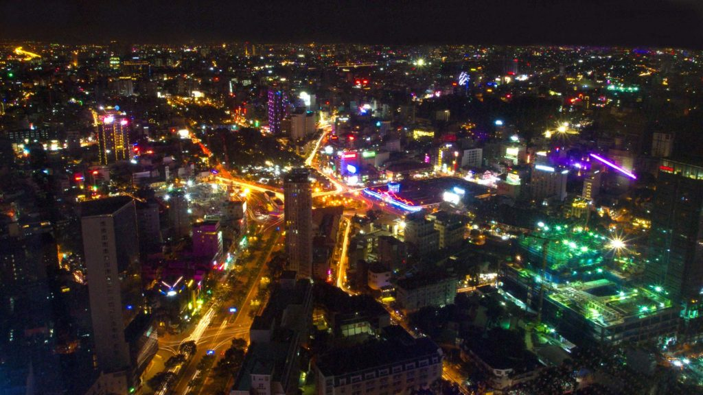 View by night from the Saigon Skydeck at the Ben Thanh Market, Ho Chi Minh City