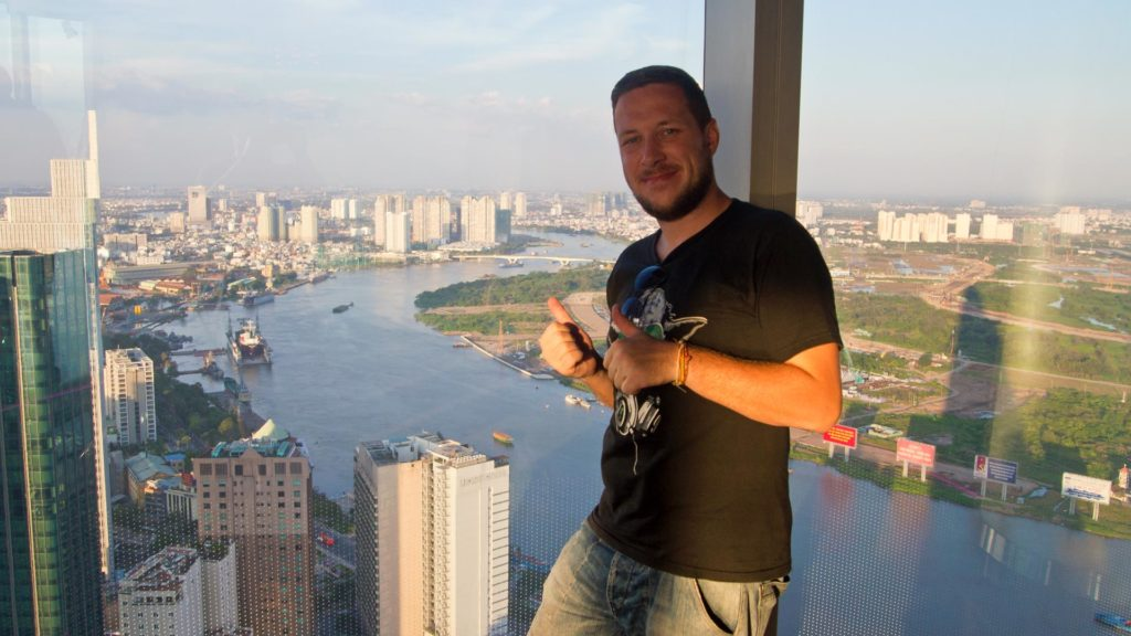 Tobi at the Saigon Skydeck in Ho Chi Minh City, Vietnam