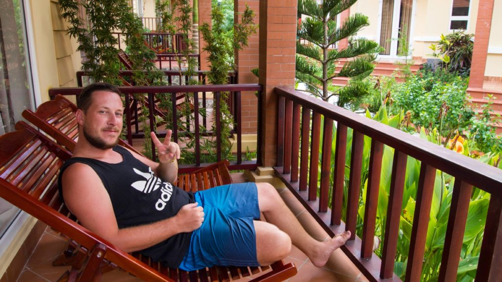 Tobi on his terrace in the Castaways Resort