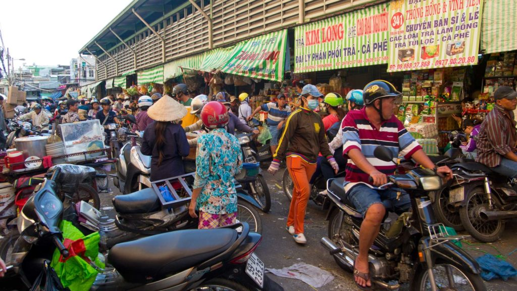 A side street at the Binh Tay Market in Chinatown, Ho Chi Minh City