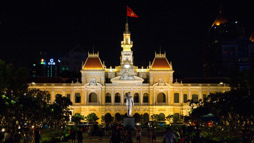 The old city hall of Ho Chi Minh City at night, Vietnam