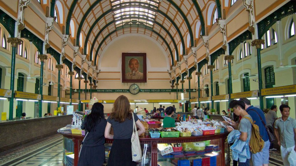 Souvenir shops in the Central Post Office of Ho Chi Minh City