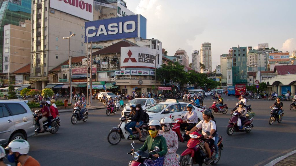 The traffic of Ho Chi Minh City at the Ben Thanh Market, Vietnam
