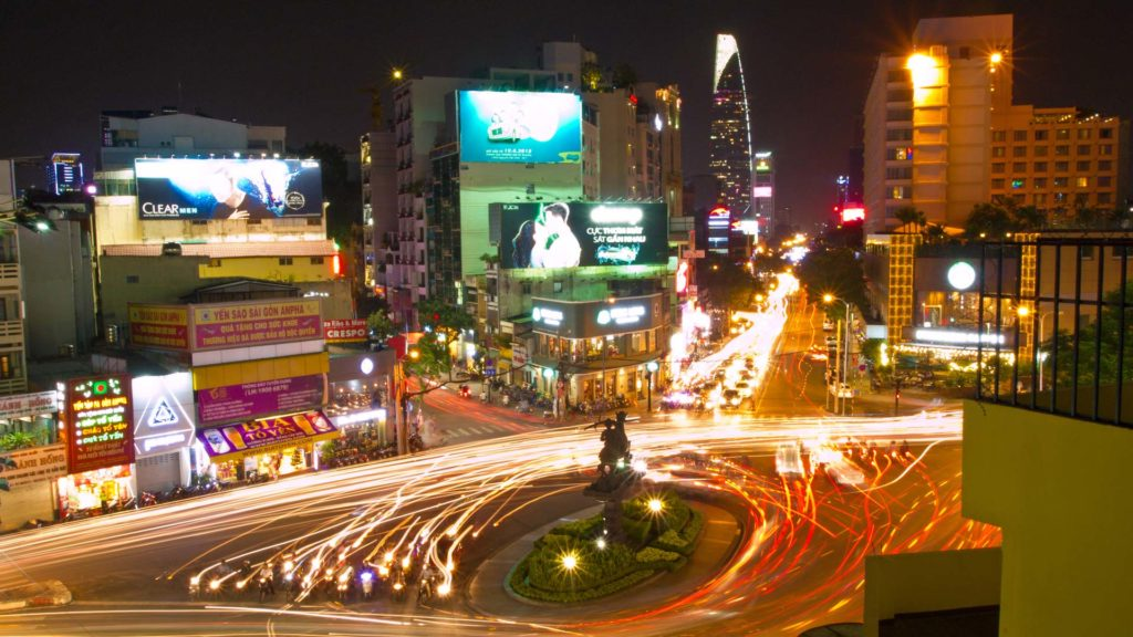 The traffic in Ho Chi Minh City at night, Vietnam
