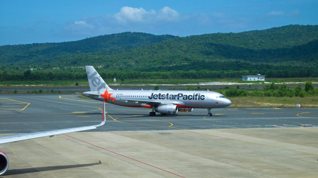 Jetstar airplane at Phu Quoc airport, Vietnam