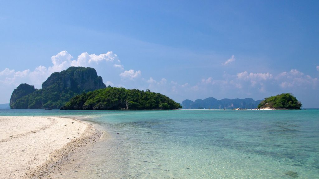 The view from Chicken Island at Tub Island with Koh Poda in the background, Krabi