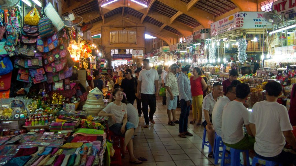 The inside of the lively Ben Thanh Market in Ho Chi Minh City, Vietnam