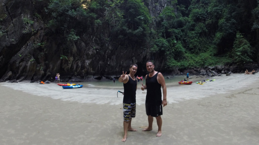 Tobi and Marcel inside the Emerald Cave on Koh Mook