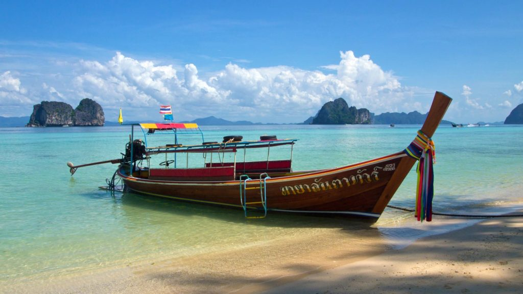 Longtail boat at the beach of Koh Ngai, Trang