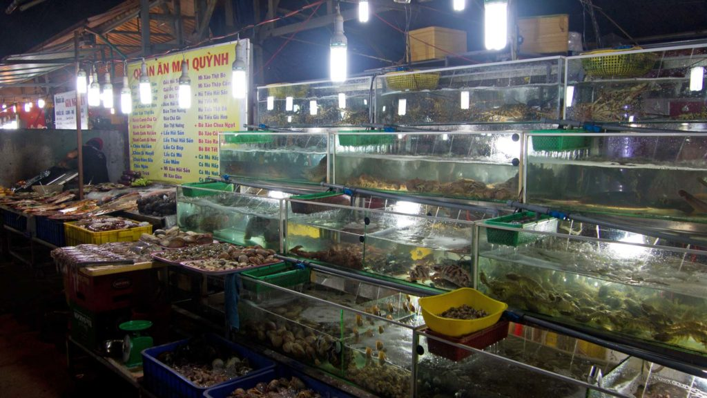Seafood at the Dinh Cau night market in Duong Dong on Phu Quoc