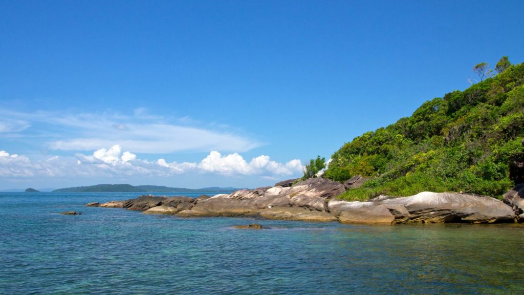 The Ganh Dau Cape with a view at Cambodia, Phu Quoc, Vietnam