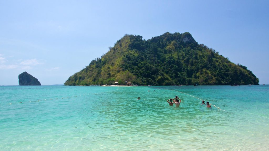 The view from Tub Island at Chicken Island during high tide, Krabi