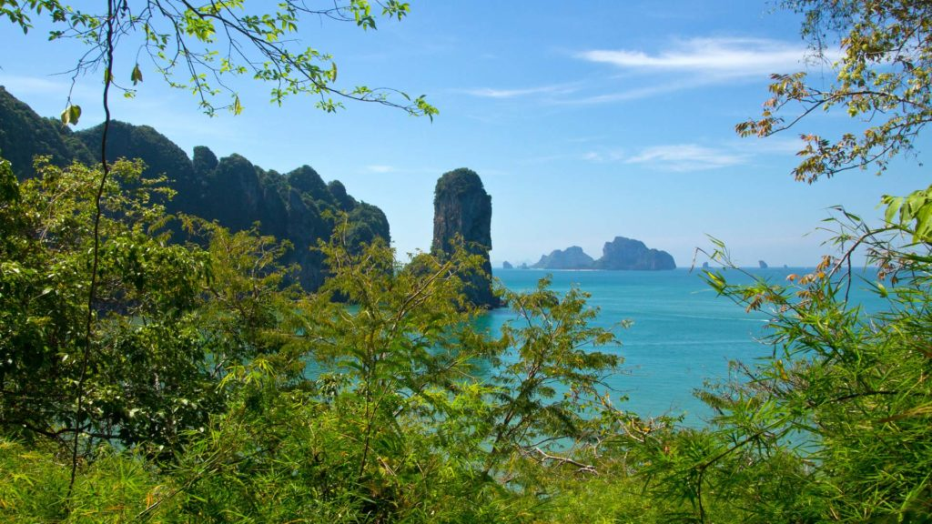 The view at the islands of Krabi from the Monkey Trail in Ao Nang