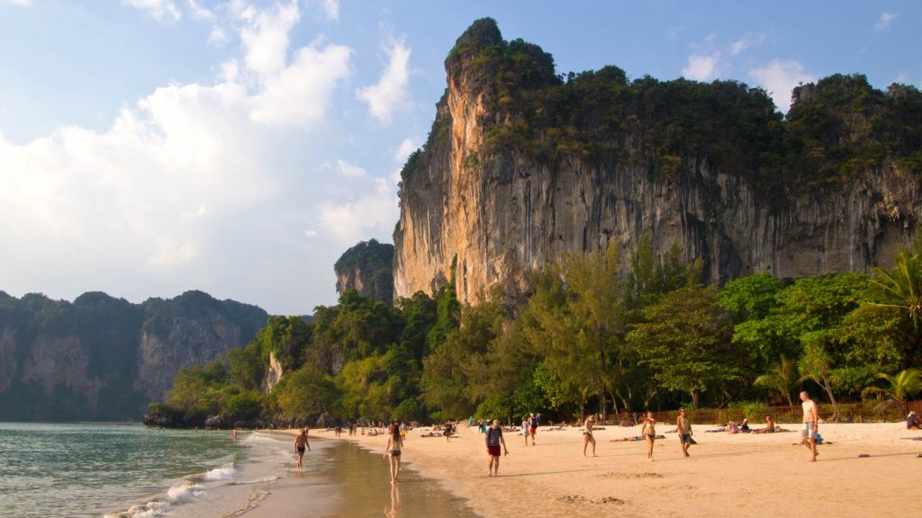 The Railay Beach, a popular beach among backpackers in Krabi