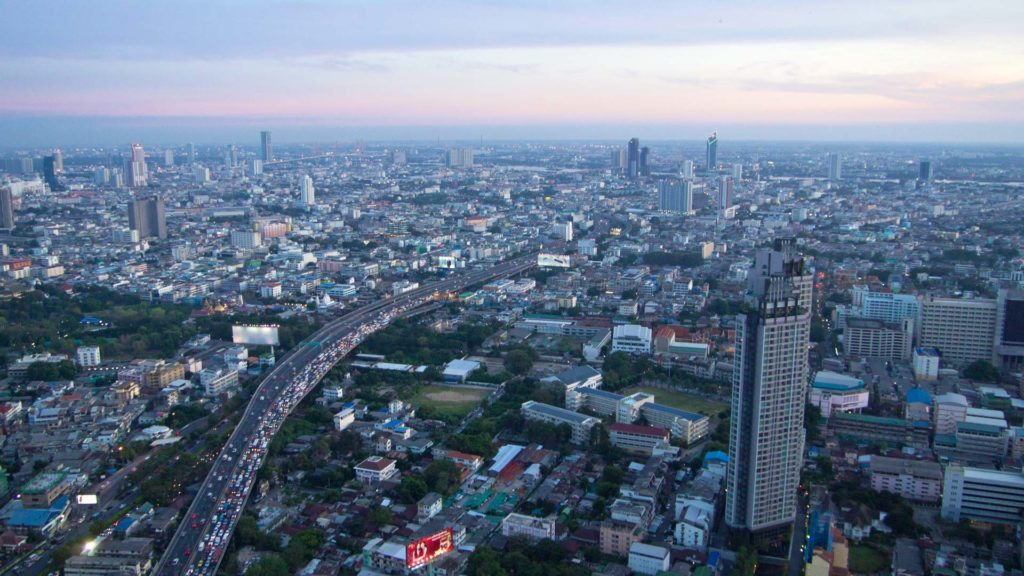View of the city of Bangkok from the Lebua State Tower at sunset