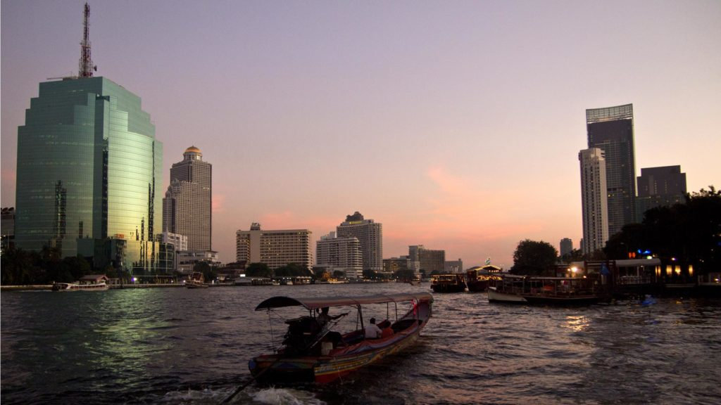 The Chao Phraya River in Bangkok with the Lebua at State Tower in the background