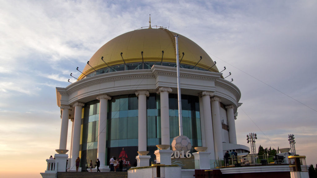 The golden dome of the Lebua at State Tower in Sirocco Bar, Bangkok