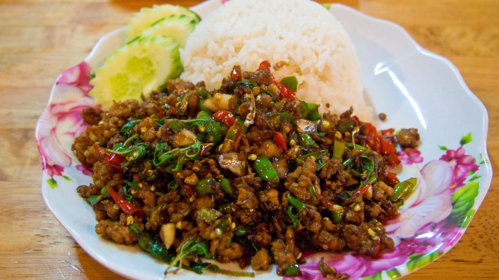 Pad Kra Pao - minced pork with holy basil leaves and chili