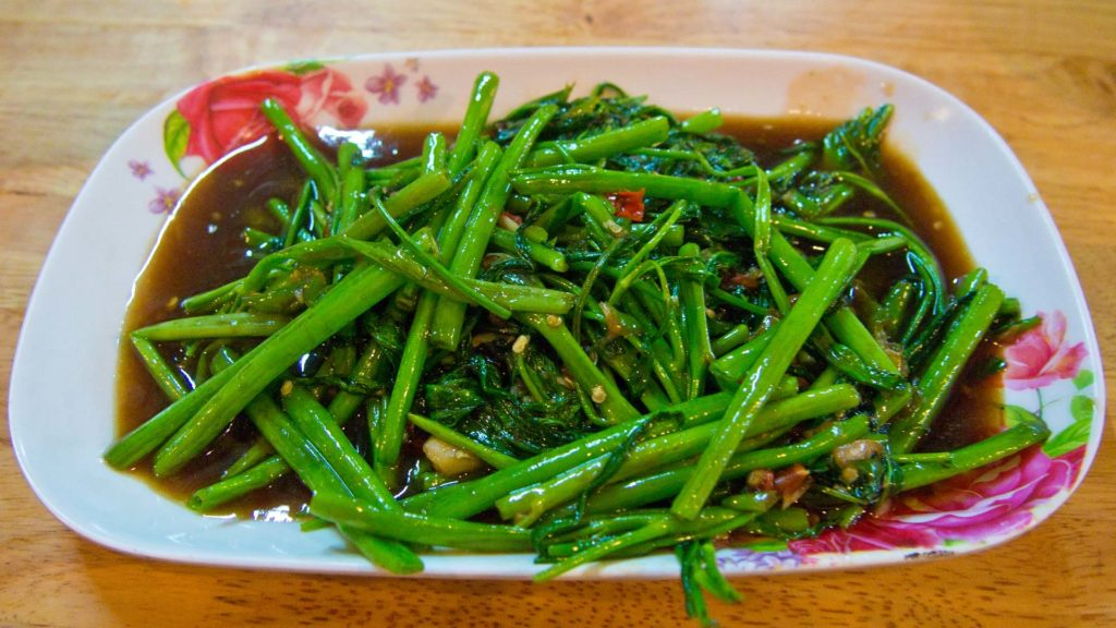 Pad Pak Bung - fried morning glory with chili and fishsauce