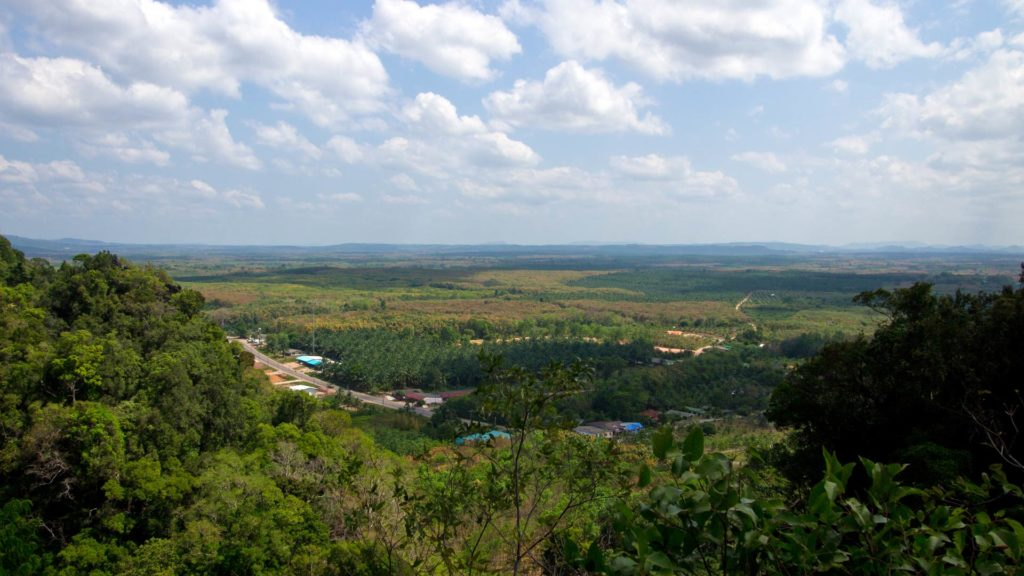 View from the stairs to the temple on the top of the mountain, Tiger Cave Temple