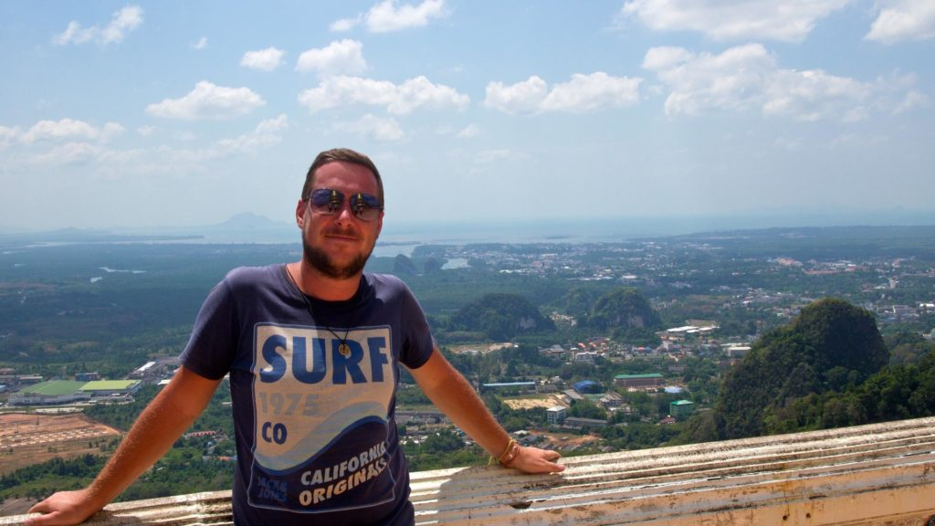 Tobi and the view over Krabi town in the background