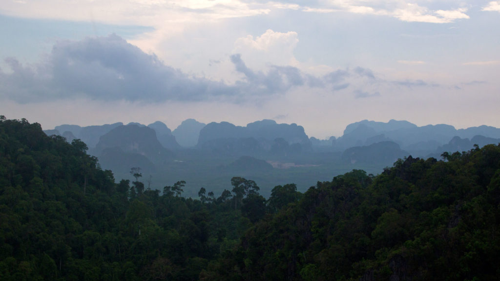 View from the temple on the top of the Tiger Cave Temple mountain