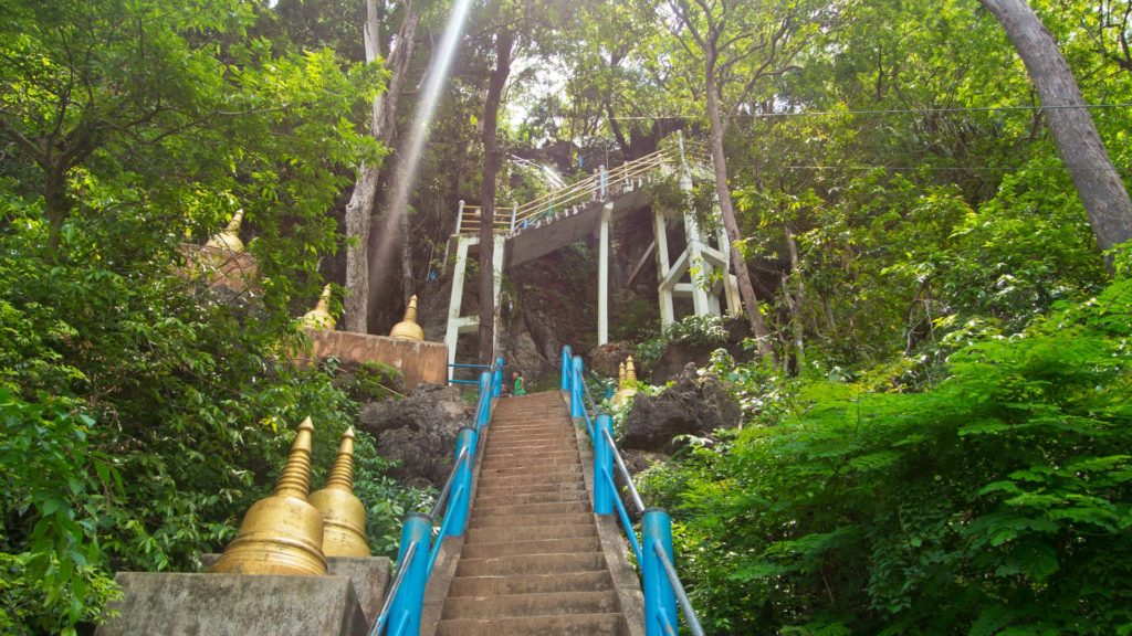 The stairs to the Tiger Cave Temple