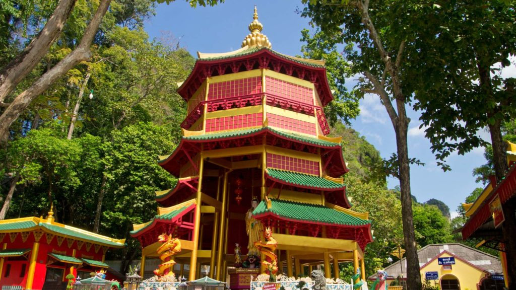 A Chinese pagoda in the Wat Tham Sua, Tiger Cave, Krabi