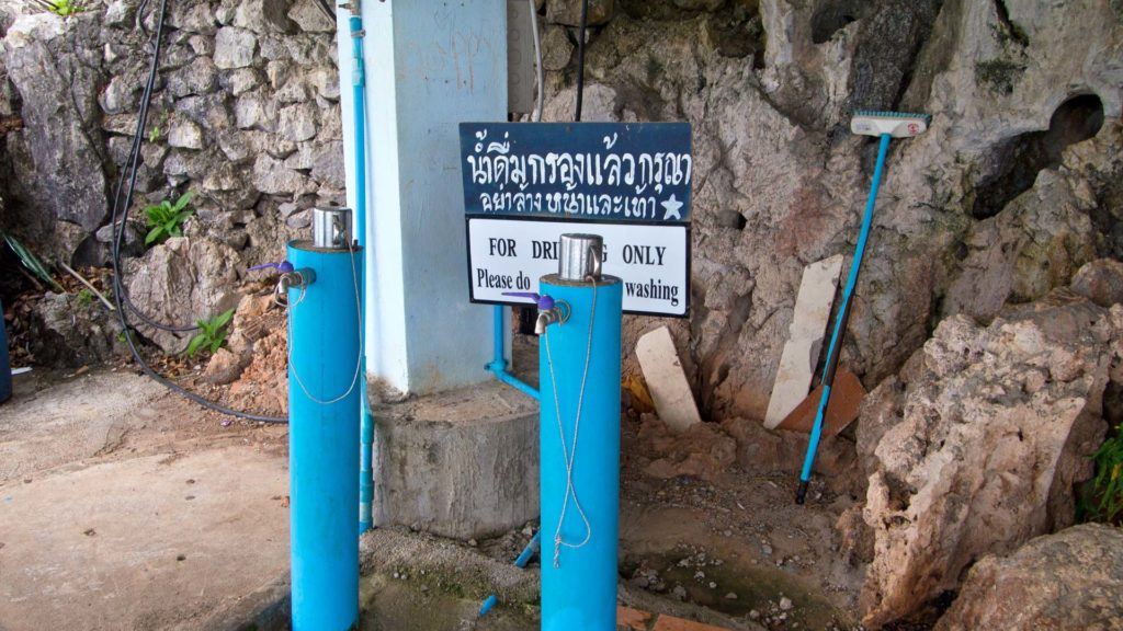 Free drinking water on top of the mountain of Krabi's Tiger Cave Temple