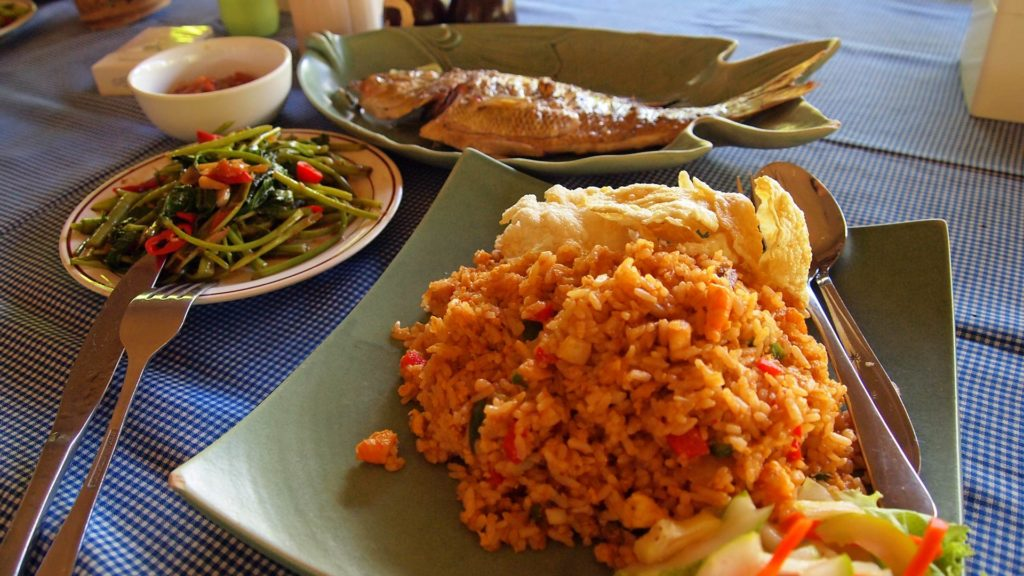Food in Indonesia: Nasi Goreng, Plecing Kangkung, and fish