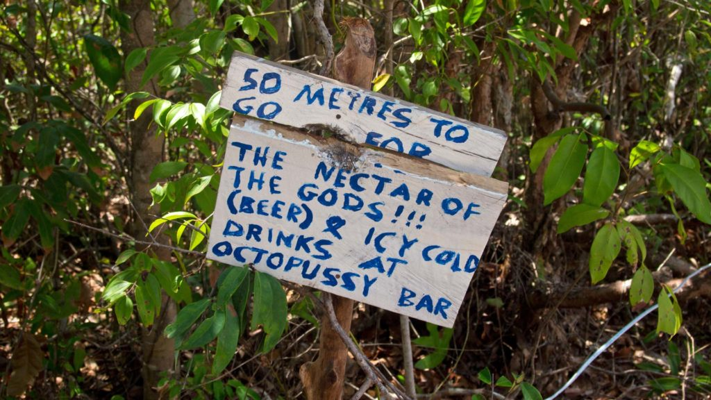 50 meters to the nectar of the gods - beer, a sign on Koh Rong Samloem