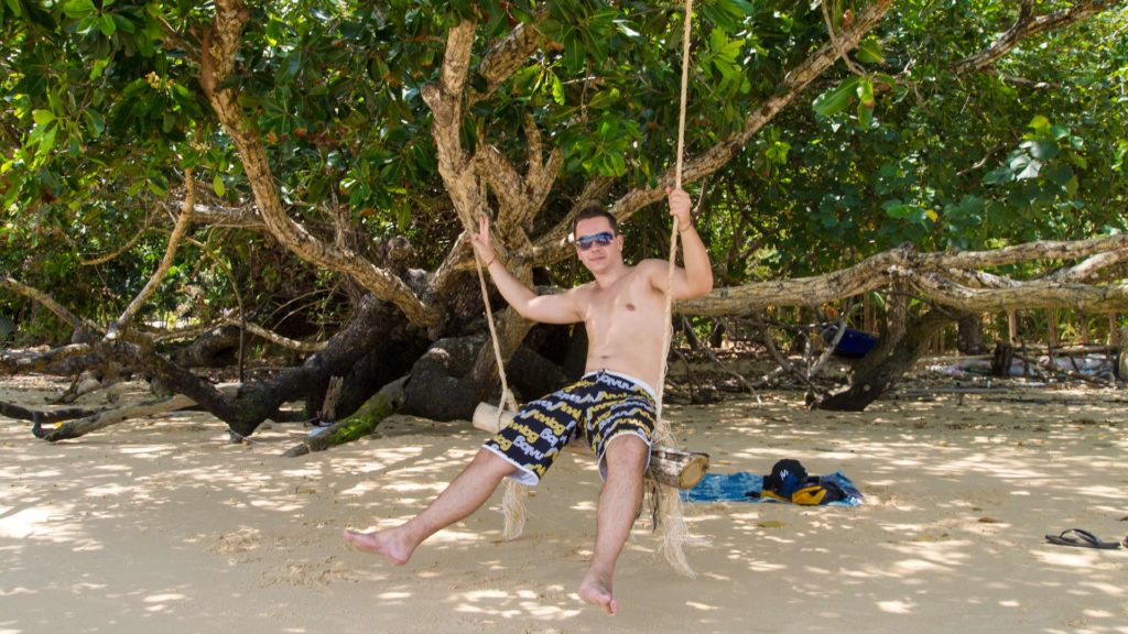 Marcel swinging on Ao Kwang Peeb (Monkey Bay), Koh Phayam