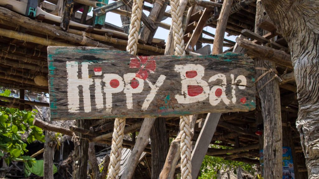 Sign at the entrance to the Hippy Bar on Koh Phayam