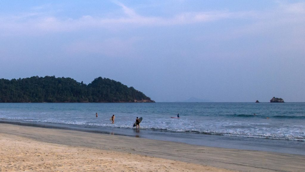 Surfing at Long Beach on Koh Phayam